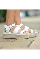 Shoes 54 On My Way White Platform Espadrille