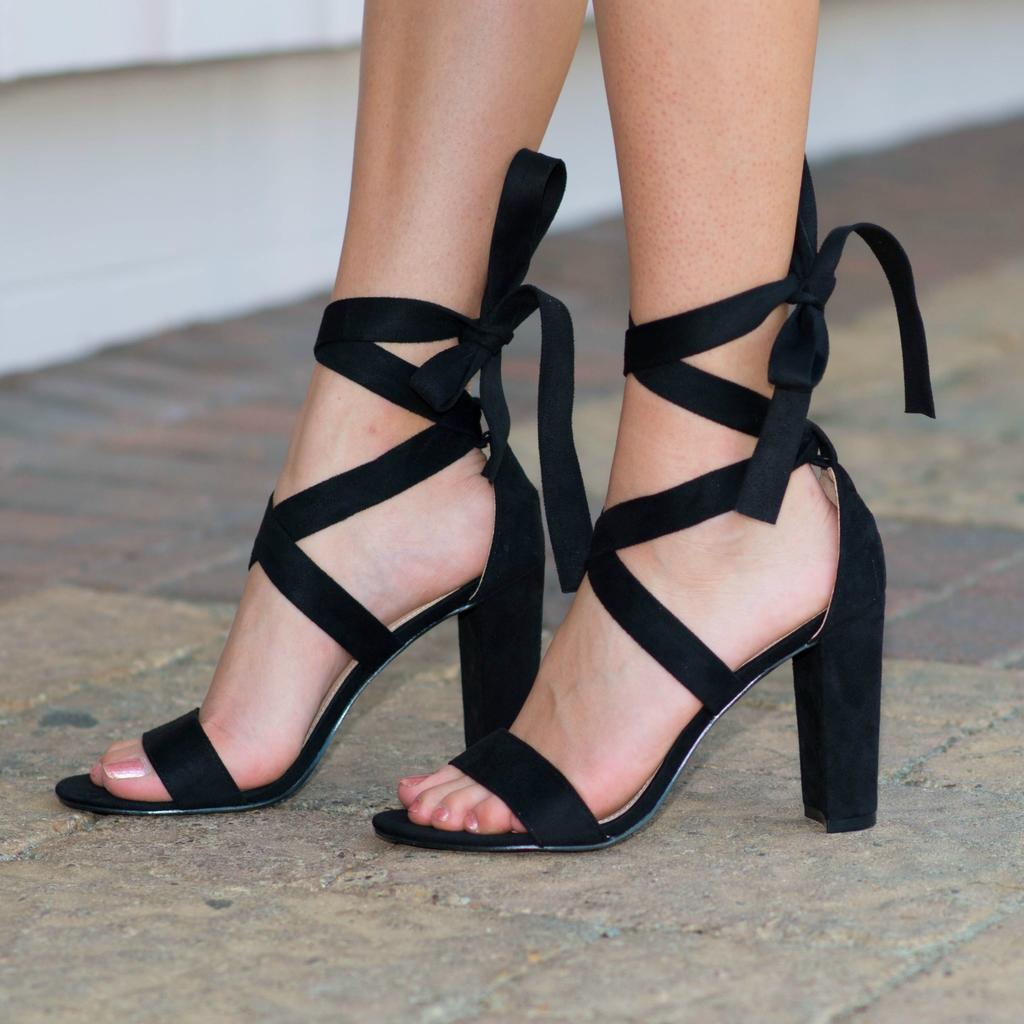 Shoes 54 Wrap It Up Black Heel