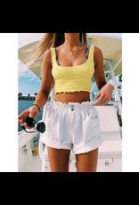 Shorts 58 Summer Love High Waisted Paperbag White Shorts