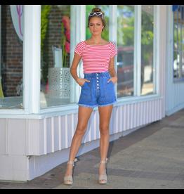 Shorts 58 High Waisted Paperbag Button Front Summer Denim Medium Wash Shorts