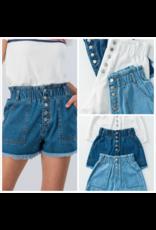 Shorts 58 High Waisted Paperbag Button Front Summer Denim Shorts
