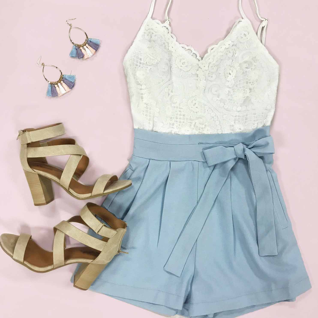 Rompers 48 Lace Love Summer Blue Romper