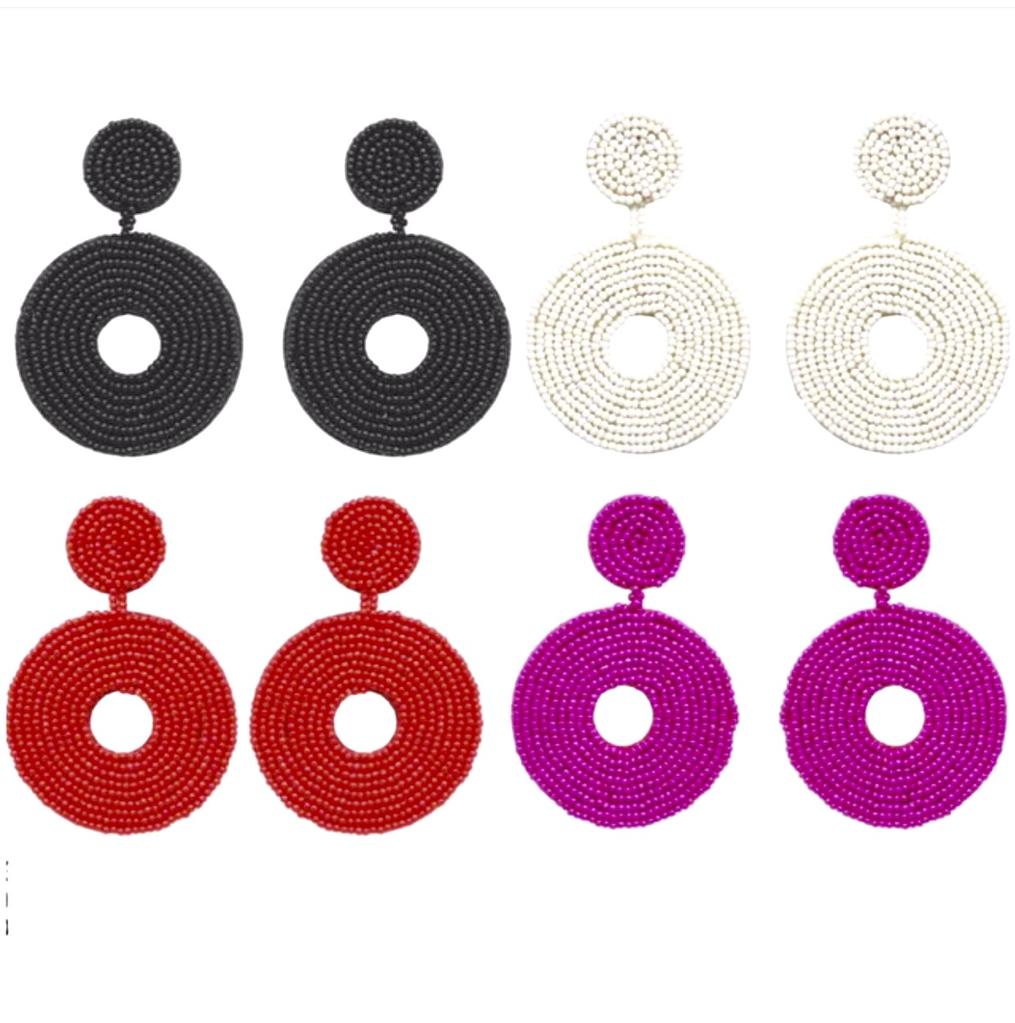 Jewelry 34 Seed Bead Circle Earrings