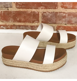 Shoes 54 Slide In White Strappy Espadrilles
