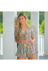 Rompers 48 Colorful Snake Print Romper