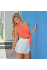 Tops 66 Live It Up Neon Coral Wrap Top