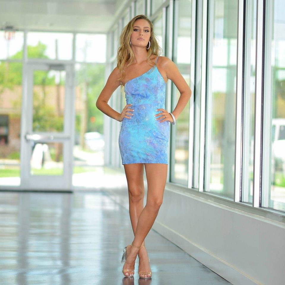Dresses 22 Summer Snake One Shoulder Blue/Silver Dress