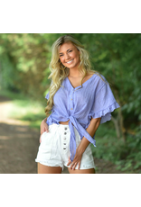 Tops 66 Ruffle Up Blue Tie Front Summer Top