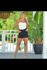 Shorts 58 Paperbag Waist Black Denim Shorts