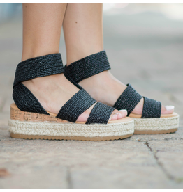 Shoes 54 Happy Strides Black Straw Texture Espadrilles