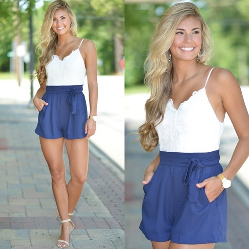 Rompers 48 Lace Love Navy Romper