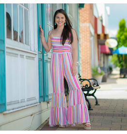 Jumpsuit Smocking, Stripes And Flares Oh My…Pink/Multi Jumpsuit