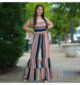 Jumpsuit Smocking, Stripes And Flares Oh My…Black/Multi Jumpsuit