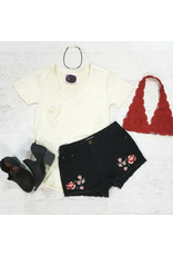 Shorts 58 Fall Embroidered Black Shorts
