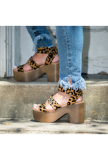 Shoes 54 Wild Stride Camel Leopard Wooden Platforms