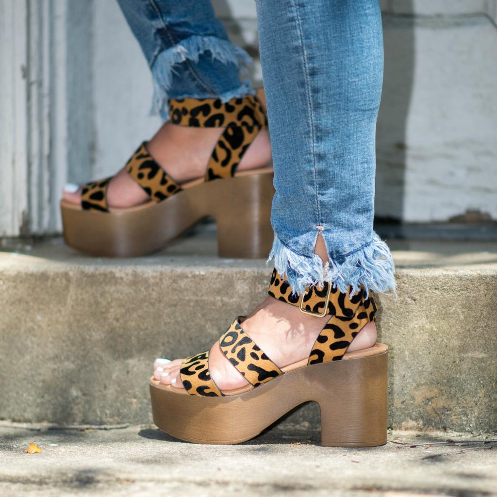 Shoes 54 Wild Stride Camel Leopard Wooden Platforms