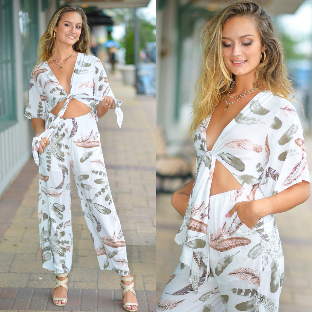Jumpsuit Fun In Feather Print Jumpsuit