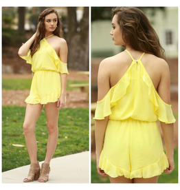 Rompers 48 Spring Fever Yellow Ruffle Romper