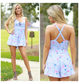 Rompers 48 Floral Knotted Blue Romper