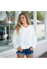 Tops 66 Comfy Days Ivory Open Back Waffle Top