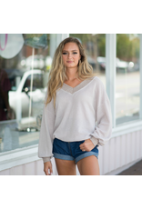 Tops 66 Live In The Moment Taupe Waffle Top