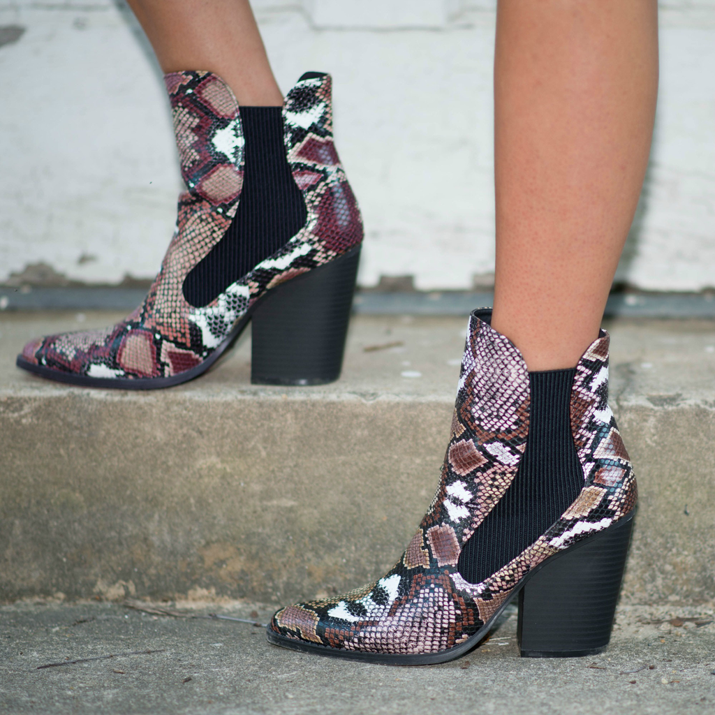 Shoes 54 Snake Camel/Multi Bootie
