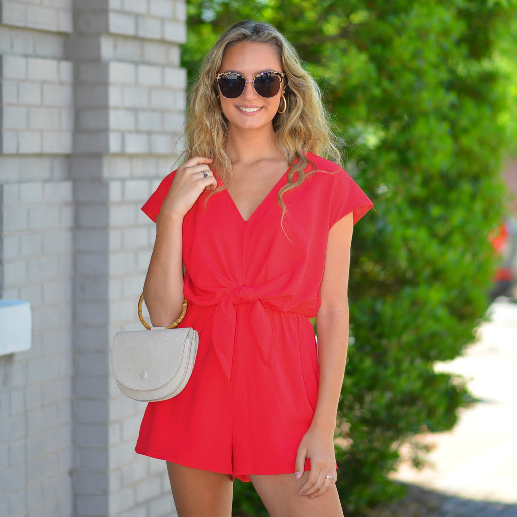 Rompers 48 Red Celebration Tie Front Romper