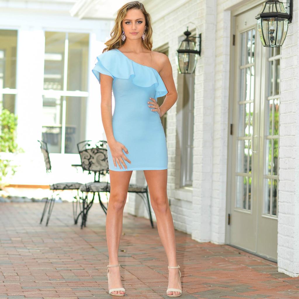 Dresses 22 Wonder Of It One Shoulder Light Blue Ruffle Dress