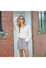 Tops 66 Fall Fireside Cropped Chenille Ivory Sweater