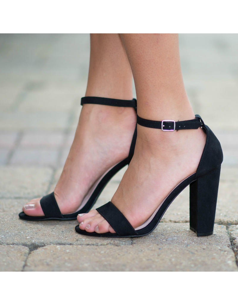 Shoes 54 Suede Black Block Heel