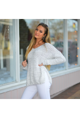 Tops 66 Soft and Fuzzy Grey/White Sweater