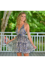 Dresses 22 Glitter Floral Navy Formal Dress