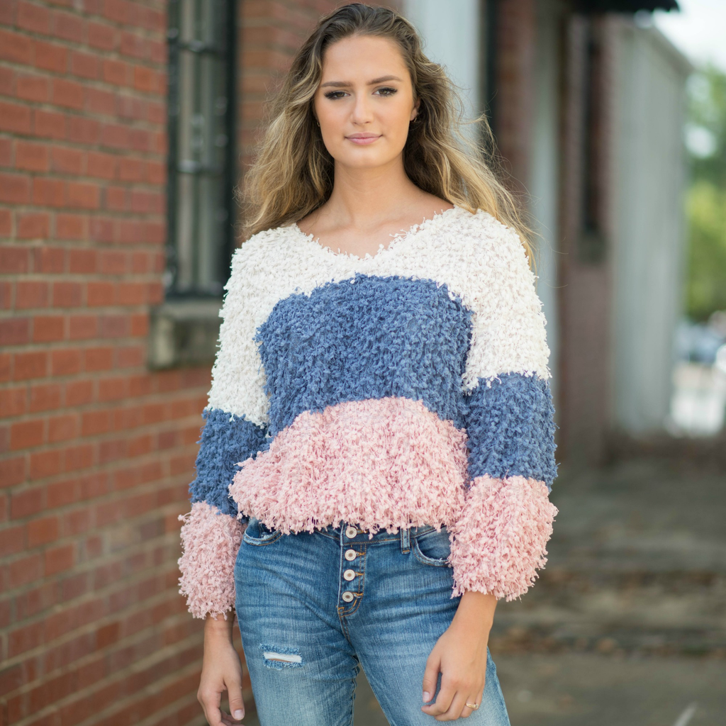 Tops 66 Shaggy Popcorn Cream/Multi Colorblock Sweater