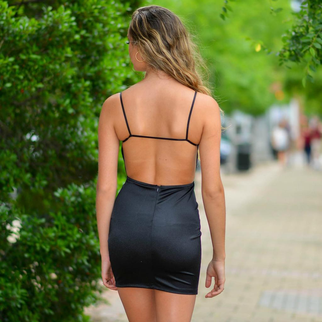 Dresses 22 Satin Dream Open Back LBD