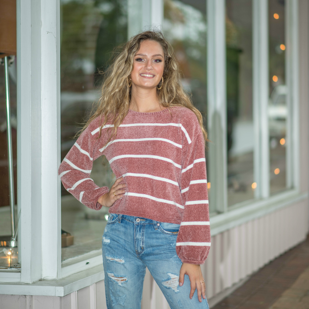 Tops 66 Chenillle and Chill Stripe Sweater