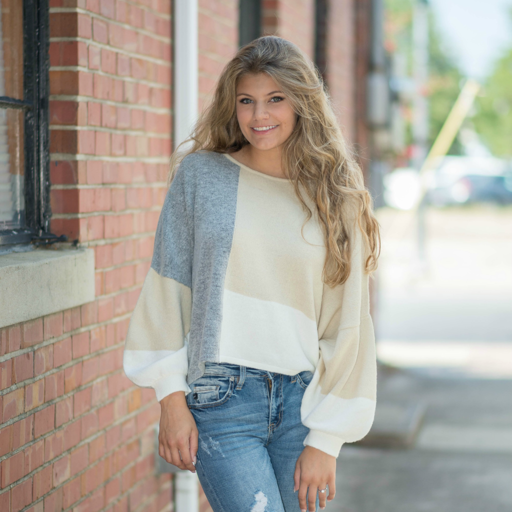 Tops 66 Neutral Territory Color Block Sweater