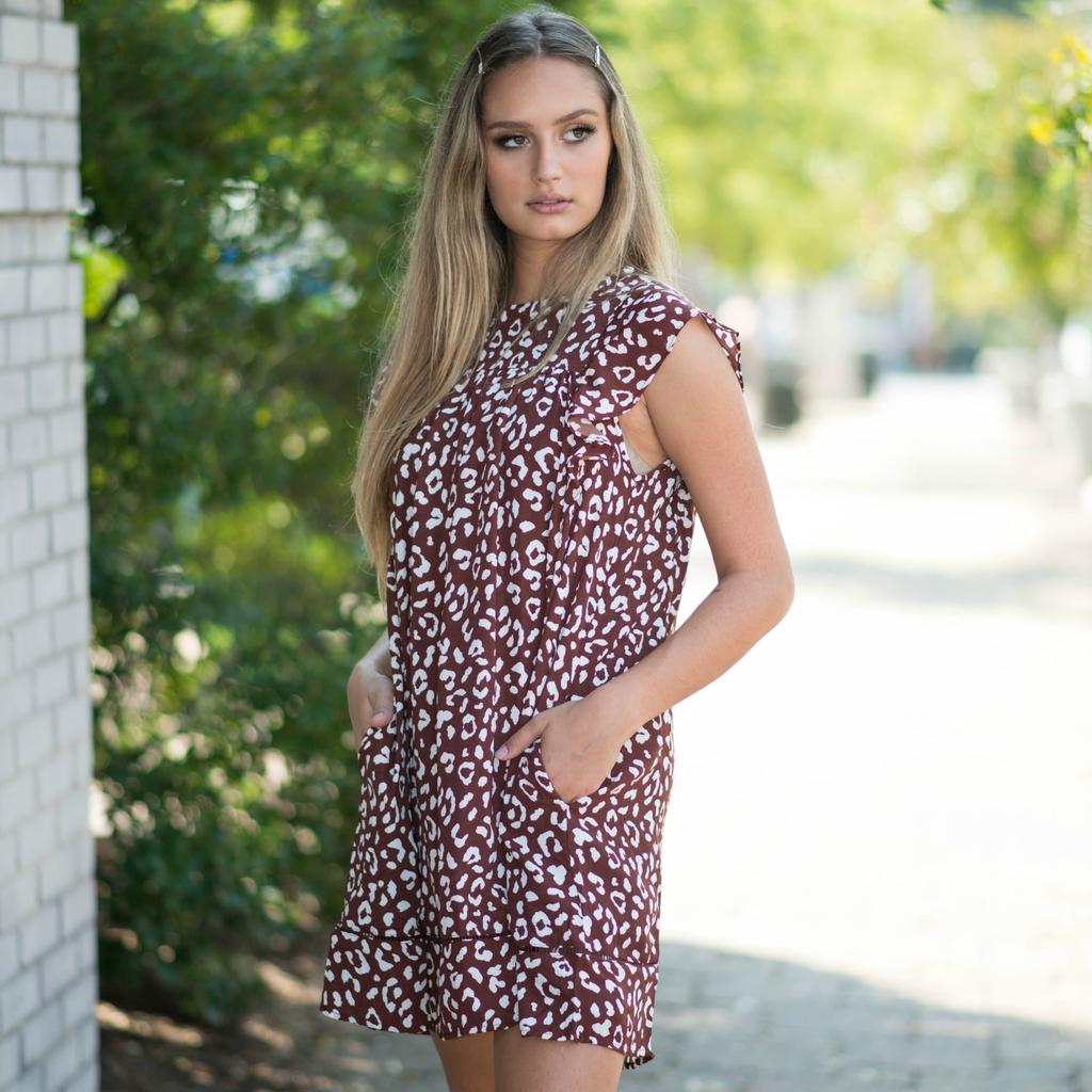 Default Baby Doll Burgundy Leopard Dress