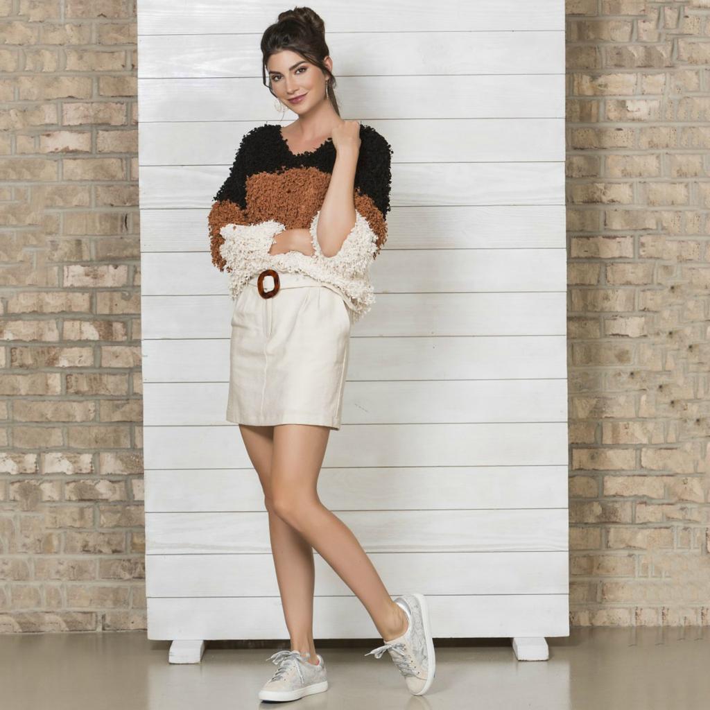 Skirts 62 Now or Never Tortoise Belted Cream Skirt
