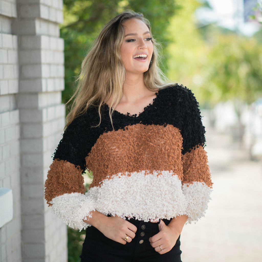 Tops 66 Shaggy Popcorn Black/Multi Colorblock Sweater