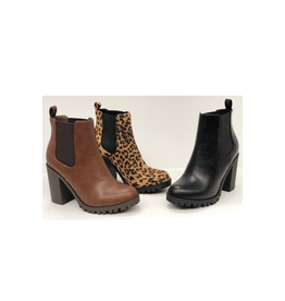 Shoes 54 High Tower Black Lugg Heel Boots