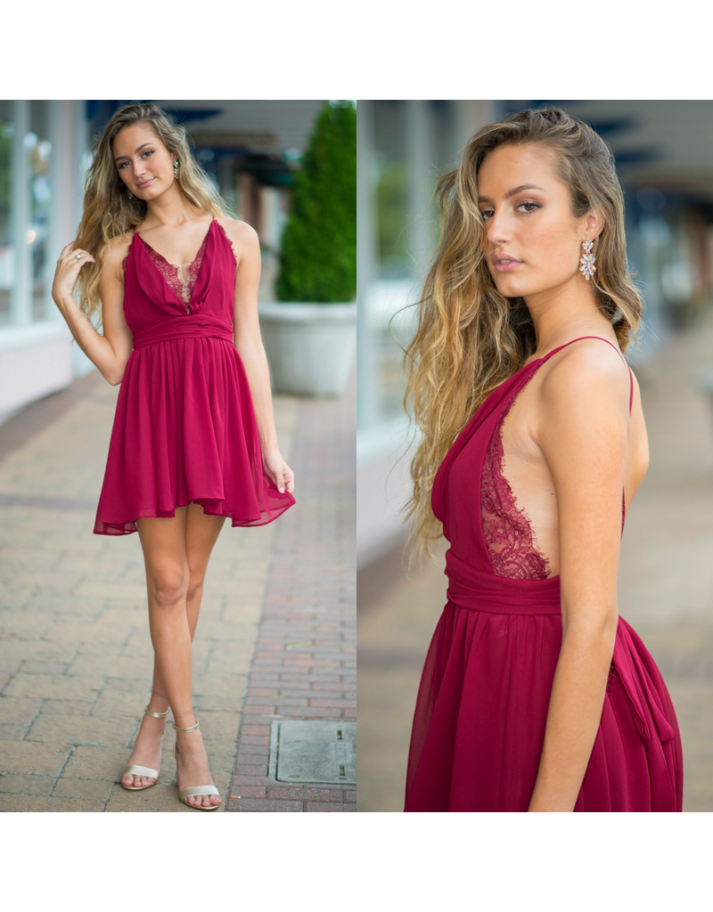 Dresses 22 Chiffon Eyelash Burgundy Lace Dress