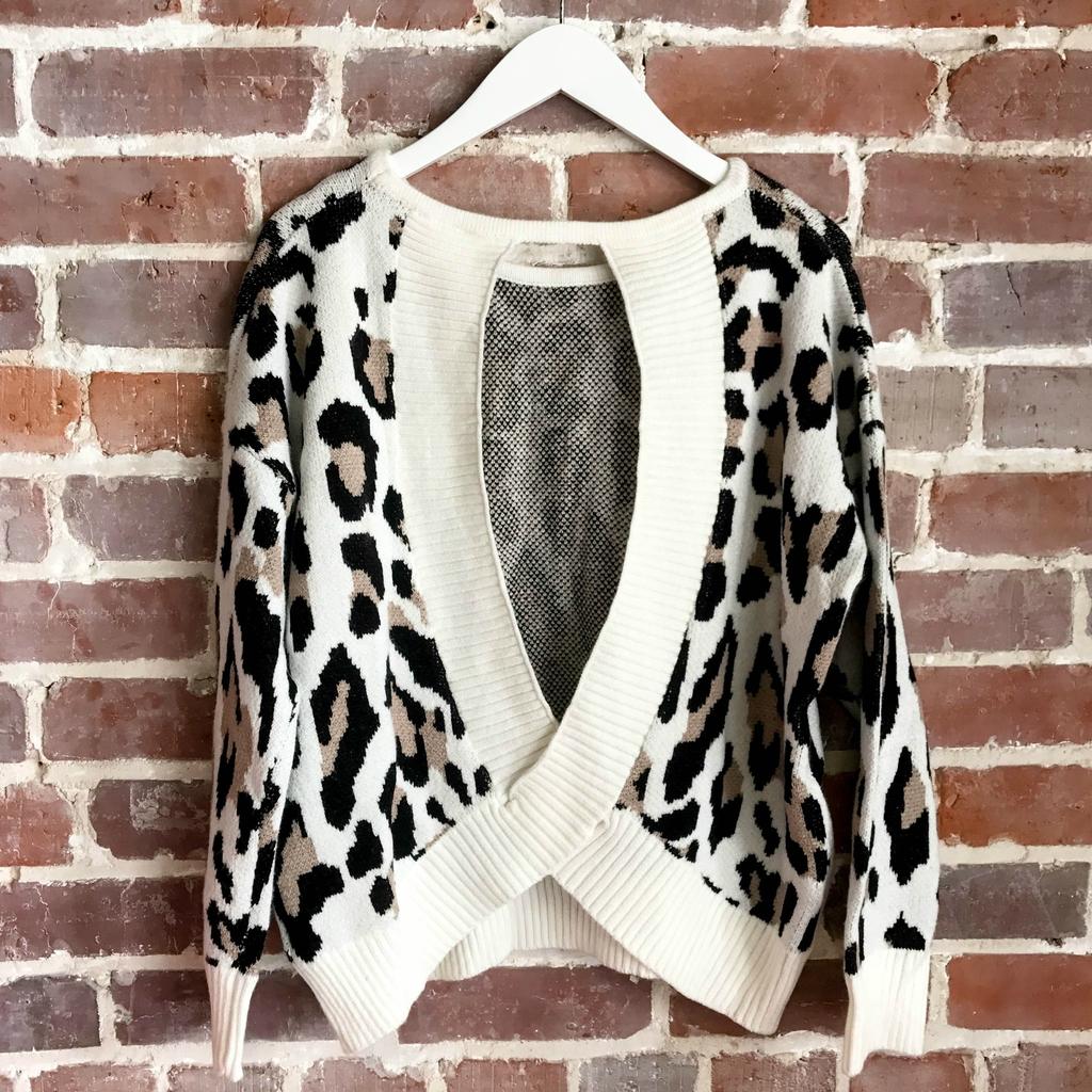 Tops 66 Leopard Open Back Sweater