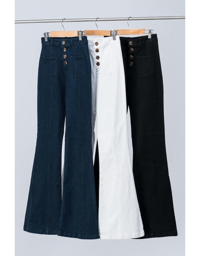 Pants 46 Button Front High Waisted Denim Flares