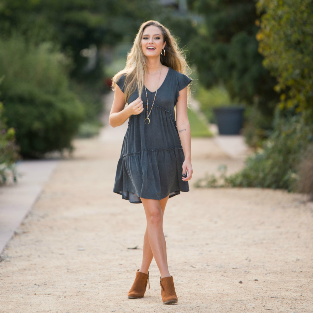Dresses 22 Autumn Is Calling Baby Doll Charcoal Dress