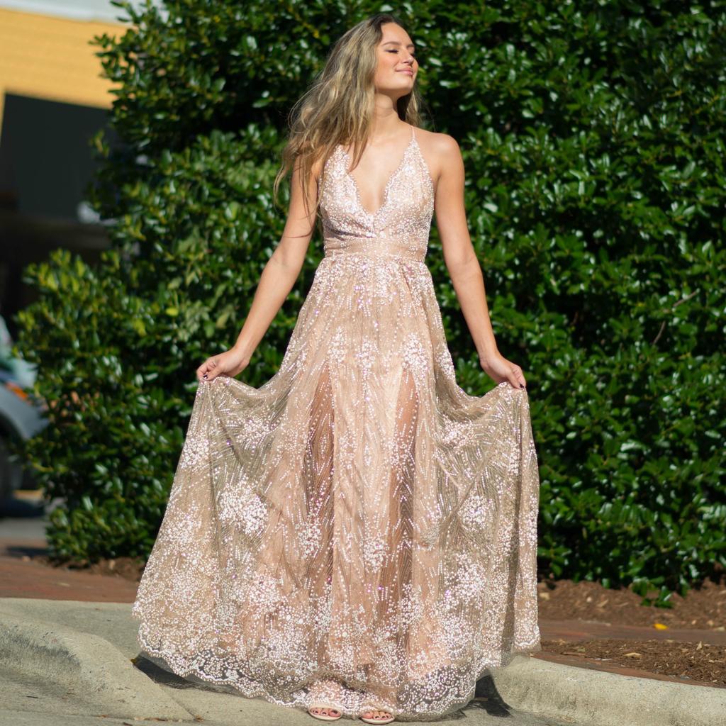 Dresses 22 Giltter Floral Rose Gold Long Formal Dress