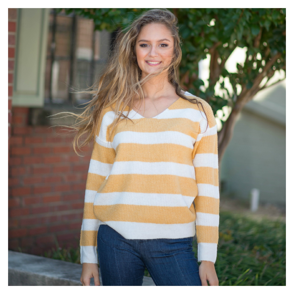 Tops 66 Be Happy Cozy Stripe Sweater