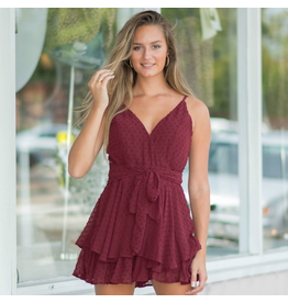 Rompers 48 Swiss Dot Fall Party Burgundy Romper