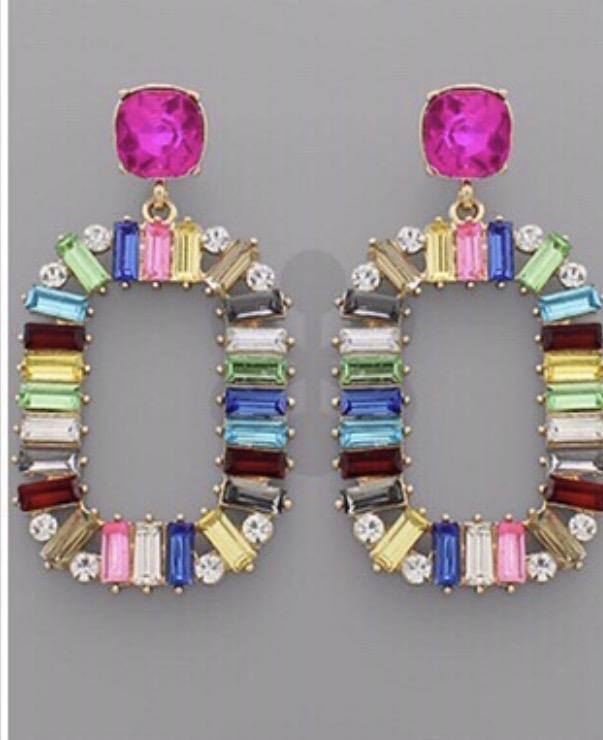 Jewelry 34 Baguette Colorful Earrings