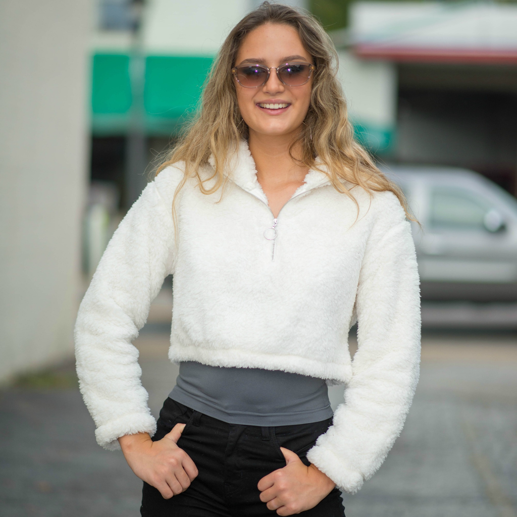 Tops 66 Fuzzy and Cropped Front Zip Sweater