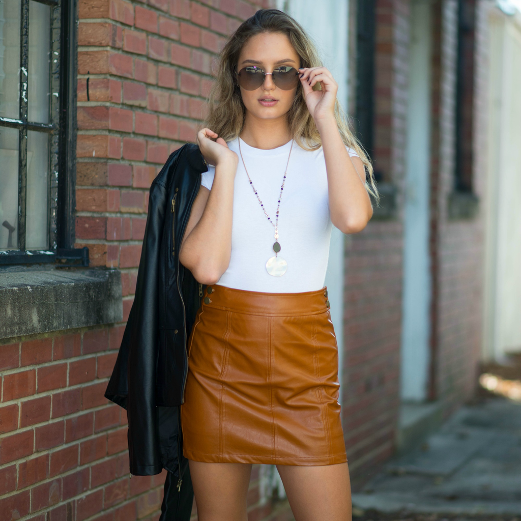 Skirts 62 Fall With Me Camel Leather Skirt